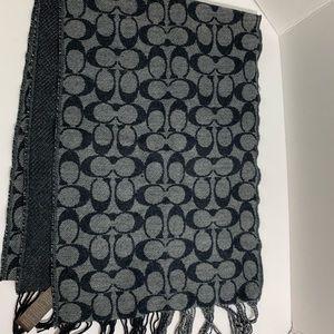 NWT Coach Scarf Black monogram Logi Wool
